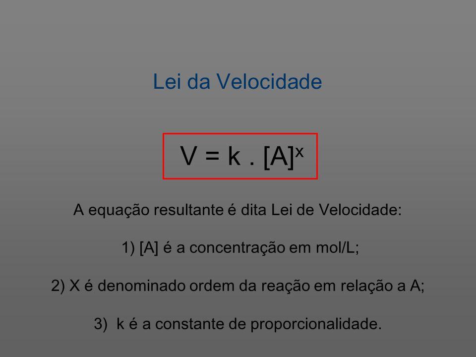 Lei da Velocidade V = k . [A]x